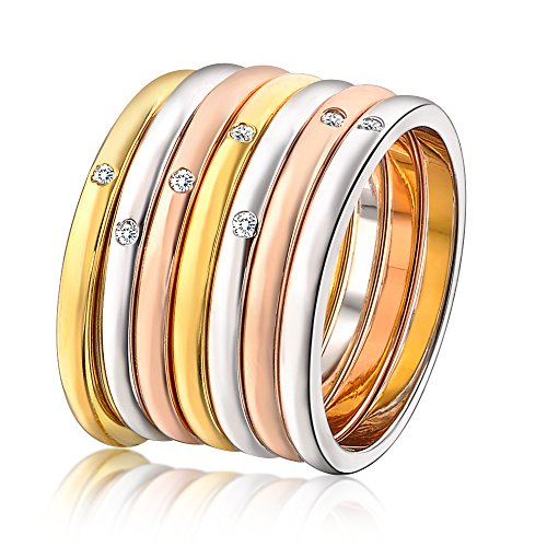 Mytys Tri-Tone Gold Plated CZ Diamond 7pcs Round Stackable Eternity Jewelry Ring - Stackable Round Eternity Ring