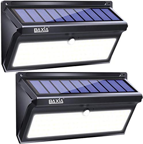 BAXIA TECHNOLOGY 100 LED Solar Lights, Solar Motion Sensor Lights With Wide Angle, Upgraded Waterproof Super Bright Security Solar Wall Lights for Outdoor Garden, Front Door, Yard, Fence [2 Pack]