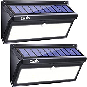 BAXIA TECHNOLOGY Solar Lights Outdoor, 100 LED Solar Motion Sensor Lights With Wide Angle, Upgraded Waterproof Super Bright Security Solar Wall Lights for Garden, Fence, Front Door, Yard, [2 Pack]