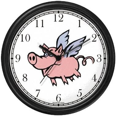 Angel Pig or Flying Pig with Wings Animal Wall Clock by WatchBuddy Timepieces Black Frame