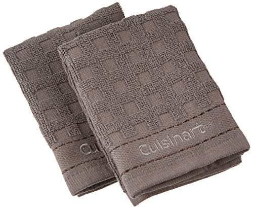 Cuisinart 100% Cotton Terry Dish Cloth Set, 2-Pack, Steel Grey Waffle