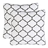Pack of 2 Mika Home Embroidery Quatrefoil Accent Throw Pillowcase Cushion Covers for 18X18'' Inserts Cotton Fabric Grey White