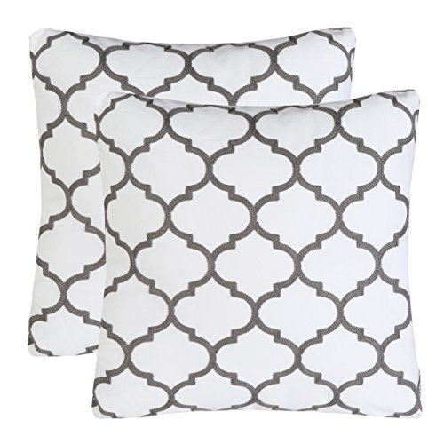 Pack of 2 Mika Home Embroidery Quatrefoil Accent Throw Pillo