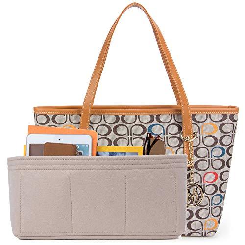 Micom Casual Signature Printing Pu Leather Tote Shoulder Handbag with Metal Decoration for Women (C Signature)