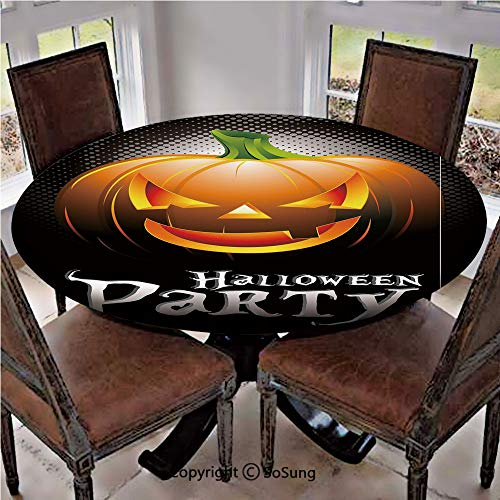 Elastic Edged Polyester Fitted Table Cover,Halloween Party Theme Scary Pumpkin on Abstract Modern Backdrop Spider Decorative,Fits up 40