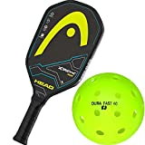 xtreme pickles - Head Xtreme Tour Graphite Black/Yellow Pickleball Paddle Bundled with DuraFast 40 Outdoor PickleBall (Box of 4)