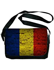 Romania Flag Brick Wall Design Messenger Bag