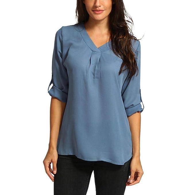 Blusa Mujers Yesmile Camiseta Camisetas de chifón de Color Puro con Cuello en V para Mujer