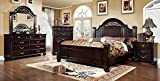 Epworth Fluted Poster 4 Piece Queen Bed, 1 Nightstand, Dresser, Mirror - Walnut Wood
