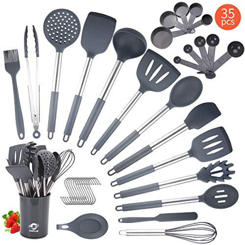 Silicone Cooking Utensils Set, COPLIB Kitchen Utensils|35 Pcs Cooking Utensils Set with holder, Non-stick &Heat-Resistant Cookware with Stainless Steel Handle - Gray