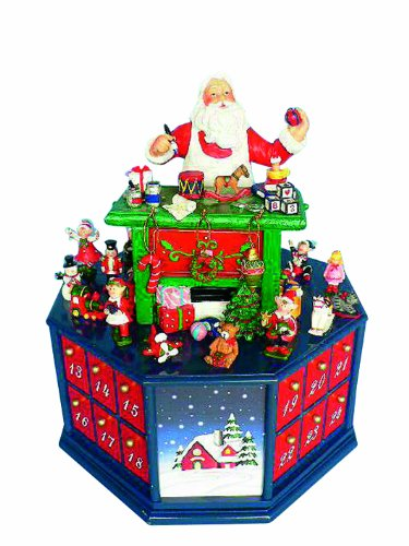 MusicBox Kingdom 53073 Advent Calendar Santa's Workshop Music Box, Plays 24 Compartments Melody