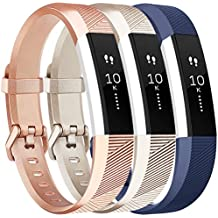 Vancle Bands Replacement for Fitbit Alta HR and Fitbit Alta (3 Pack), Newest Sport Replacement Wristbands with Secure Metal Buckle for Fitbit Alta HR/Fitbit Alta (Blue Gold Rose-Gold, Small)