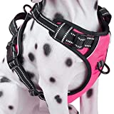 No-Pull Dog Harness, Reflective Vest Harness with Front & Back 2 Leash Attachments and Easy Control Handle for Small Medium Large Dog (Pink, Large)