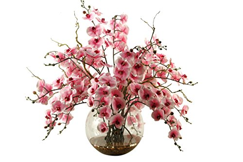 D & W Silks 169001 Pink and White Orchids in Glass Bubble Bowl, Pink/White/Clear Bowl Silk Flower Arrangement