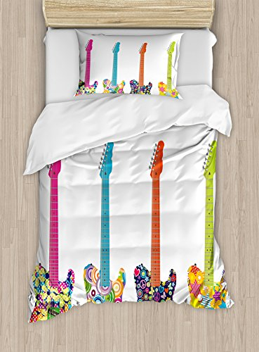 (Ambesonne Popstar Party Duvet Cover Set Twin Size, Electric Guitars Design with Colorful Flowers Stars Circles Abstract Pattern, Decorative 2 Piece Bedding Set with 1 Pillow Sham, Multicolor)