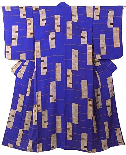 複製するアラビア語糸アンティーク 着物 錦紗 青 格子窓のような文様 裄59.5cm 身丈146cm