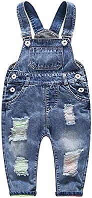 Kidscool Baby & Little Boys/girls Ripped Holes Bib Jeans Ove