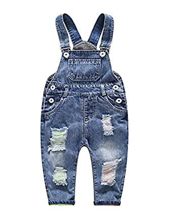 Kidscool Baby and Little Boys/Girls Ripped Holes Bib Jeans Overall Blue 6-12 Months