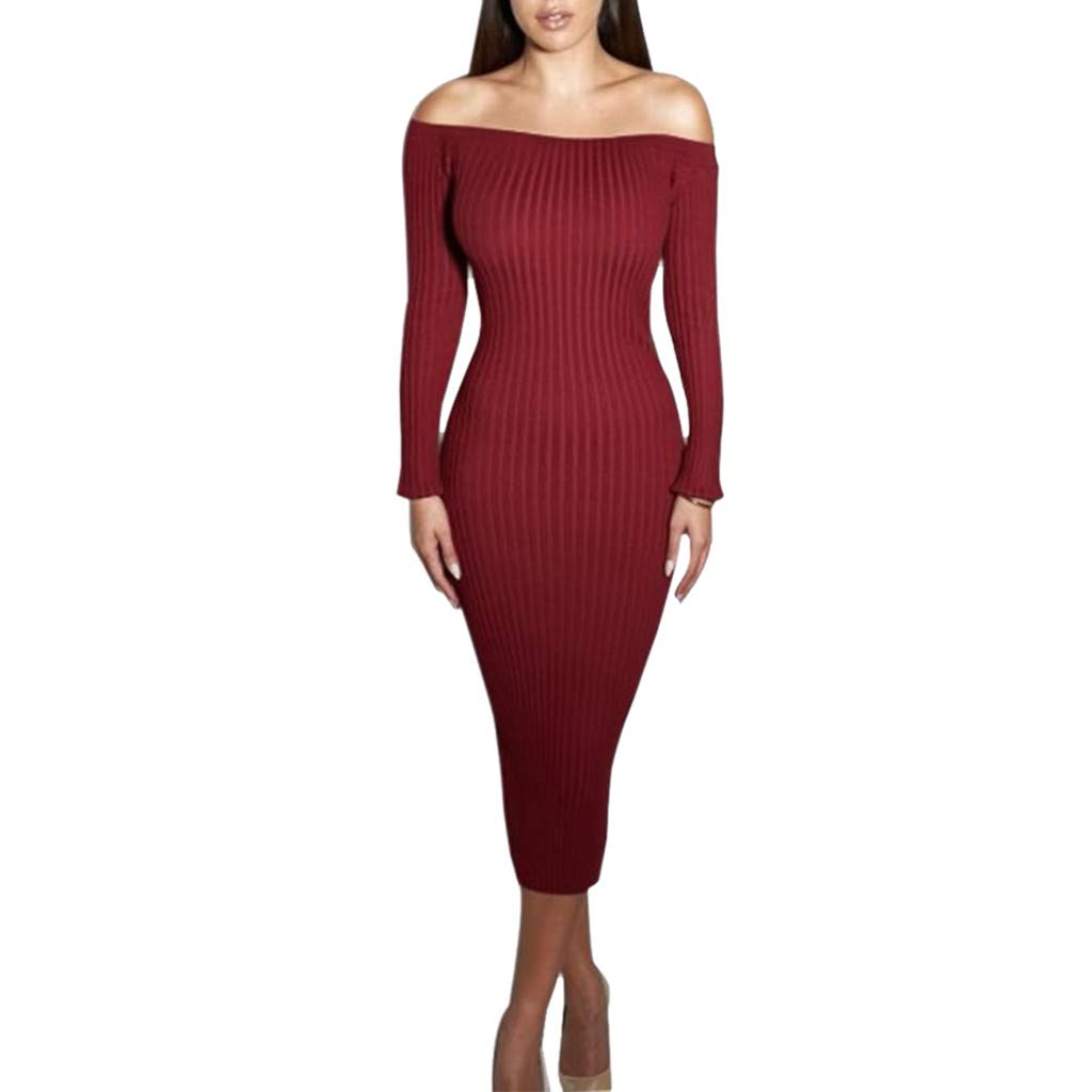 Opeer Hot! Sexy Ladies High Elastic Knit Collar Off Shoulder Dress Elegant Fishtail Wrap Step Long Skirt (Red, L)
