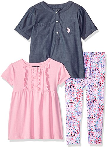 U.S. Polo Assn. Little Girls' Toddler Chambray Woven Shirt, Ruffle Baby Doll Tee and Floral Print Legging, Prism Pink, 2T