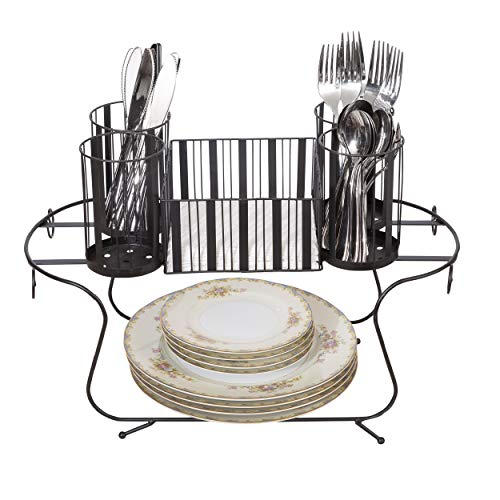 Besti Vintage Buffet Caddy (Black) Utensil, Napkin, and Dish Organizer Tray | Portable, Compact, Space-Saving Storage | Kitchen and Dining Room Use | Heavy-Duty Metal ()