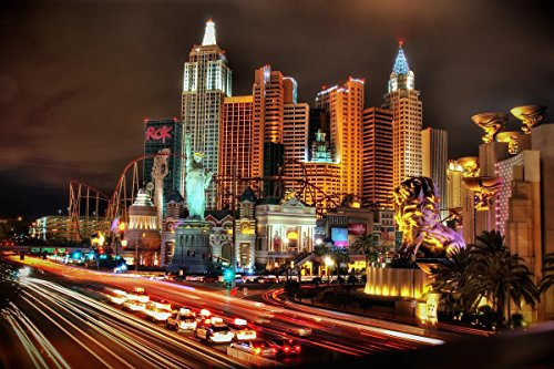 LAMINATED 36x24 Poster: night, skyscrapers, USA, Nevada, hotel, casino, Las Vegas, New York-New York Hotel and (York Las Hotel Vegas New)