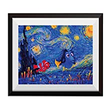 Uhomate Vincent Van Gogh Starry Night Posters Dory Finding Nemo Inspired Home Canvas Wall Art Anniversary Gifts Baby Gift Nursery Decor Living Room Wall Decor A006 (8X10)