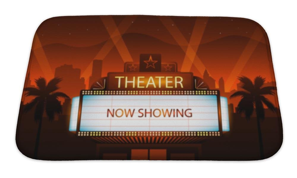 Gear New Bath Mat For Bathroom, Memory Foam Non Slip, Now Showing Theater Movie Banner Sign, 24x17, 6151054GN