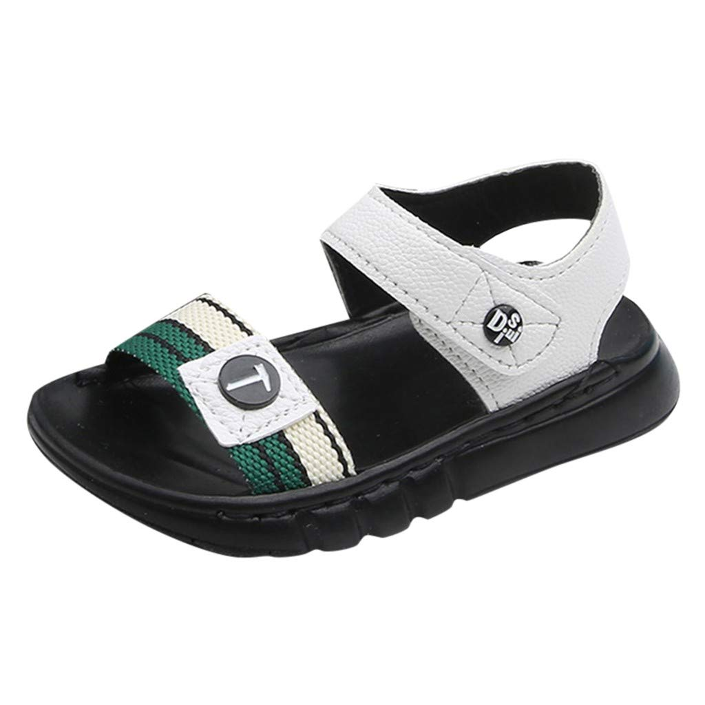 Respctful✿Uniex Boys and Girls Casual Sandals Summer Non Slip Leather Flat Student Sandal Shoes White by Respctful_shoes (Image #1)