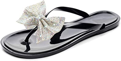 Women Glitter Bow Flat Flip Flops