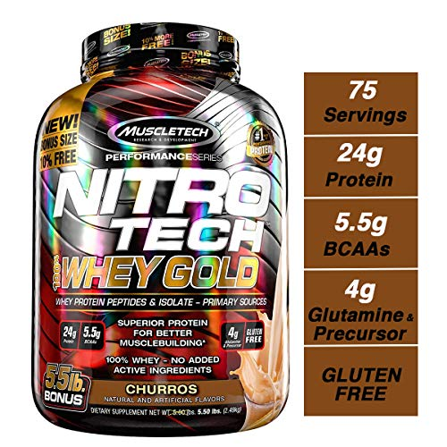 - MuscleTech Nitrotech Whey Gold/Isolate/Peptides, Churro, 5.5 Pound