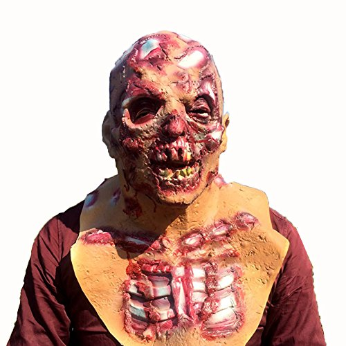 Chenkaiyang Novelty Halloween Mask Scary Costume Ghost Cosplay Party Horror Rotting Zombie (Really Scary Horror Halloween Costumes)