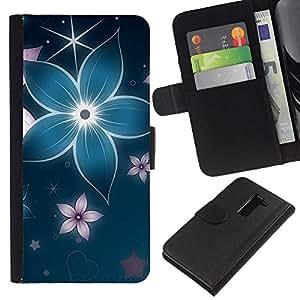 LG G2 D800 D802 D802TA D803 VS980 LS980 , la tarjeta de Crédito Slots PU Funda de cuero Monedero caso cubierta de piel ( Floral Flower Petal Blue Star Iridescent)