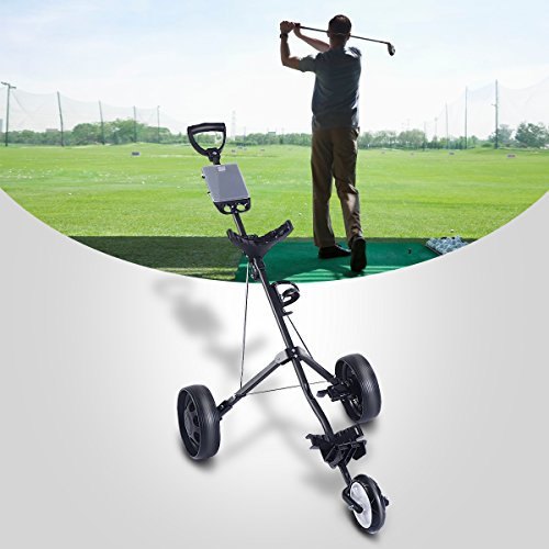 Review Tangkula Folding Pull Push Golf Cart 3 Wheel Trolley Swivel with Cup Holder