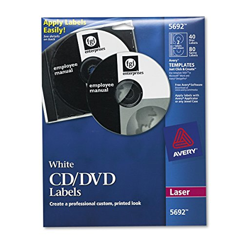 Cd Label Maker - Avery White CD Labels for Laser Printers, 40 Disc Labels and 80 Spine Labels (5692)