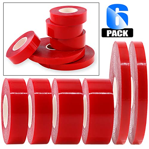 - Glarks 6 Roll Acrylic Double Sided Weatherproof Heavy Duty Heat Resistant High Adhesion Tape Roll, Clear Sticker for Industry, Auto and House Dcor-32.8ft x 0.39inch, 9.8ft x 0.59inch, 9.8ft x 0.78inch