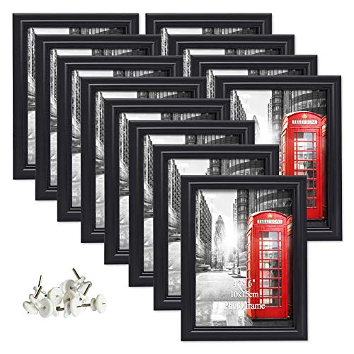 Artsay 4x6 Picture Frames Black Poster Frame Set, Wall Hanging and Tabletop, 12 Pack ()