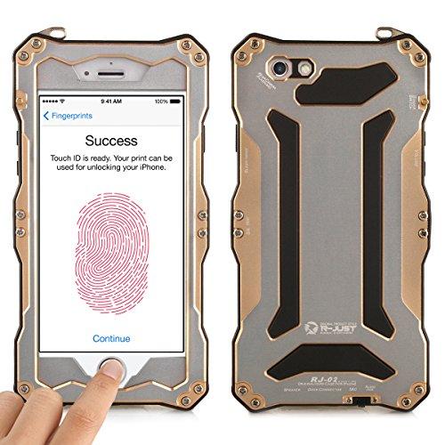 Alienwork Schutzhülle für iPhone 6 Plus/6s Plus Champagner-Gold Hülle Case Bumper geeignet für Fingerabdruck Staubdicht Schneedicht Metall gold AP6SP06-04