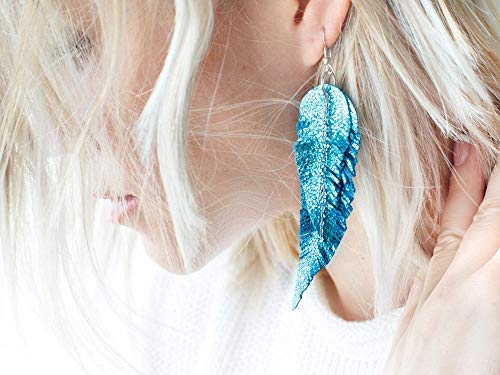 Leather Feather Earrings - Bright blue Leather Feather Earrings, metallic layered earrings, tribal Earrings, Boho earrings, dangle earrings, long earrings FREE SHIPPING
