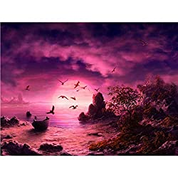 chenqiu 5D Full Embroidery Paintings Trees and Lakes Rhinestone Pasted DIY Diamond Painting Cross Stitch