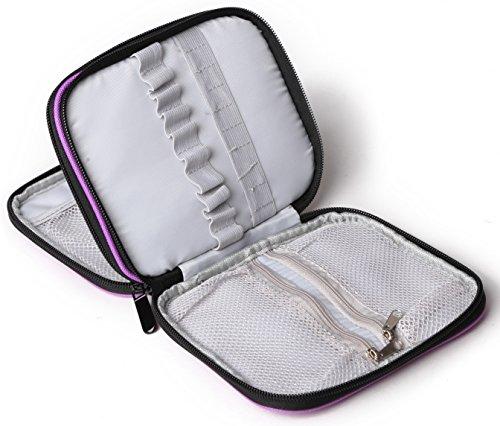 Crochet Hook Organizer - Goldwheat Crochet Hook Case Zipper Storage Organizer Bag Holder,Dark Purple