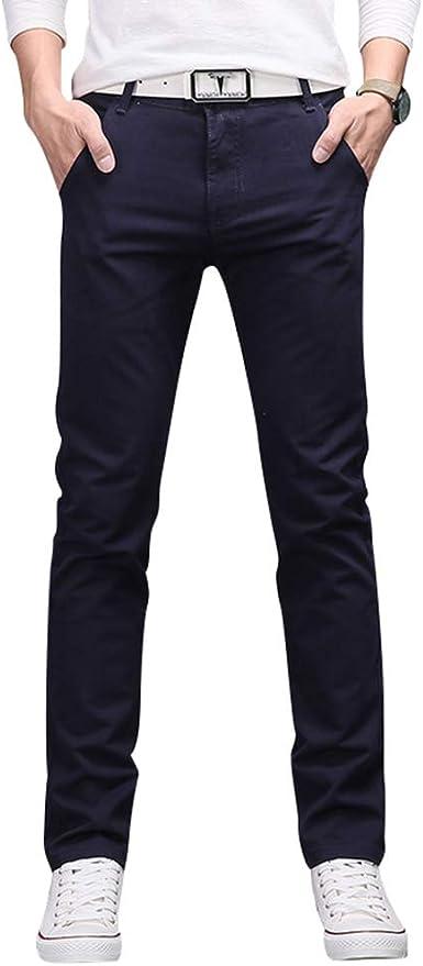 Wanyangg Pantalon Vestir Hombre Straight Fit Slim Chinos Pantalones Casual Trabajo Recto Amazon Es Ropa Y Accesorios