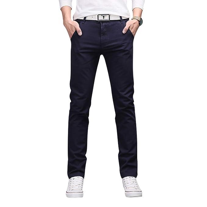 8eb09731f7 WanYangg Pantalon Vestir Hombre Straight-Fit Slim Chinos Pantalones Casual  Trabajo Recto  Amazon.es  Ropa y accesorios