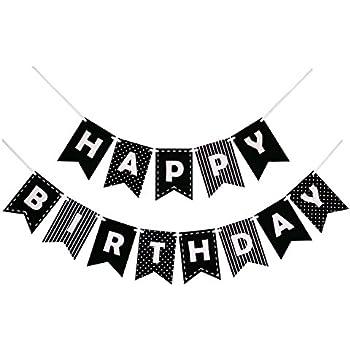 Amazon Com Black Happy Birthday Banner Black Letters Birthday