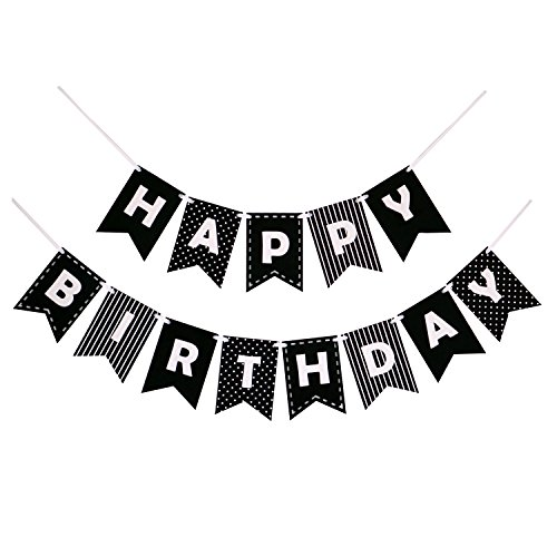 Happy Birthday Banner Bunting Laser Cut Felt 60 inches wide - Black & White