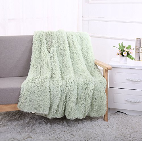 Price comparison product image YOUSA Super Soft Shaggy Faux Fur Blanket Ultra Plush Decorative Throw Blanket 63''x79'' Mint Green