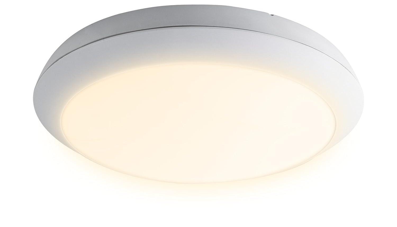 Heitronic LED Außenleuchte LED DECKENLEUCHTE MERKUR 20W 2700K SENSOR WEISS   warmweiß   27732