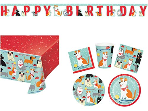 Puppy Themed Birthday Party (Puppy Dog Birthday Party Supplies Pups Themed Decorations Kit - Set of 16 - Plates, Napkins, Cups, Banner, Table)