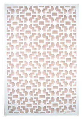 Acurio Fret White Vinyl Lattice Decorative Privacy Panel