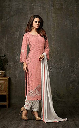 Per Georgette Kameez Donne Indiana Salwar Pesca Etnica Dritto Usura Le Pachistana Delisa wgFag